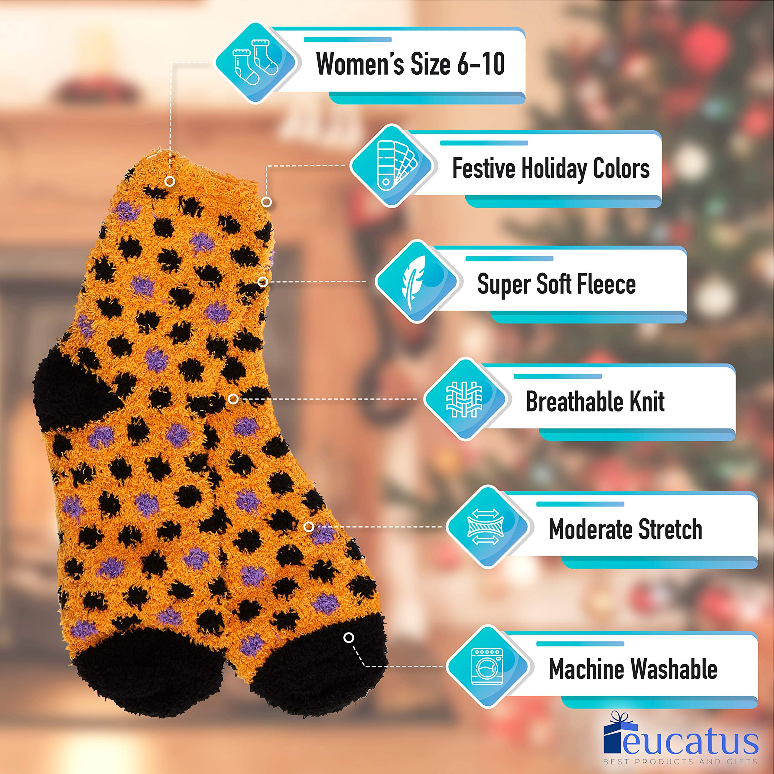 miniature 27 - Super Soft, Fuzzy Halloween Spa Socks in Gift Ornament, Womens Size 6-10