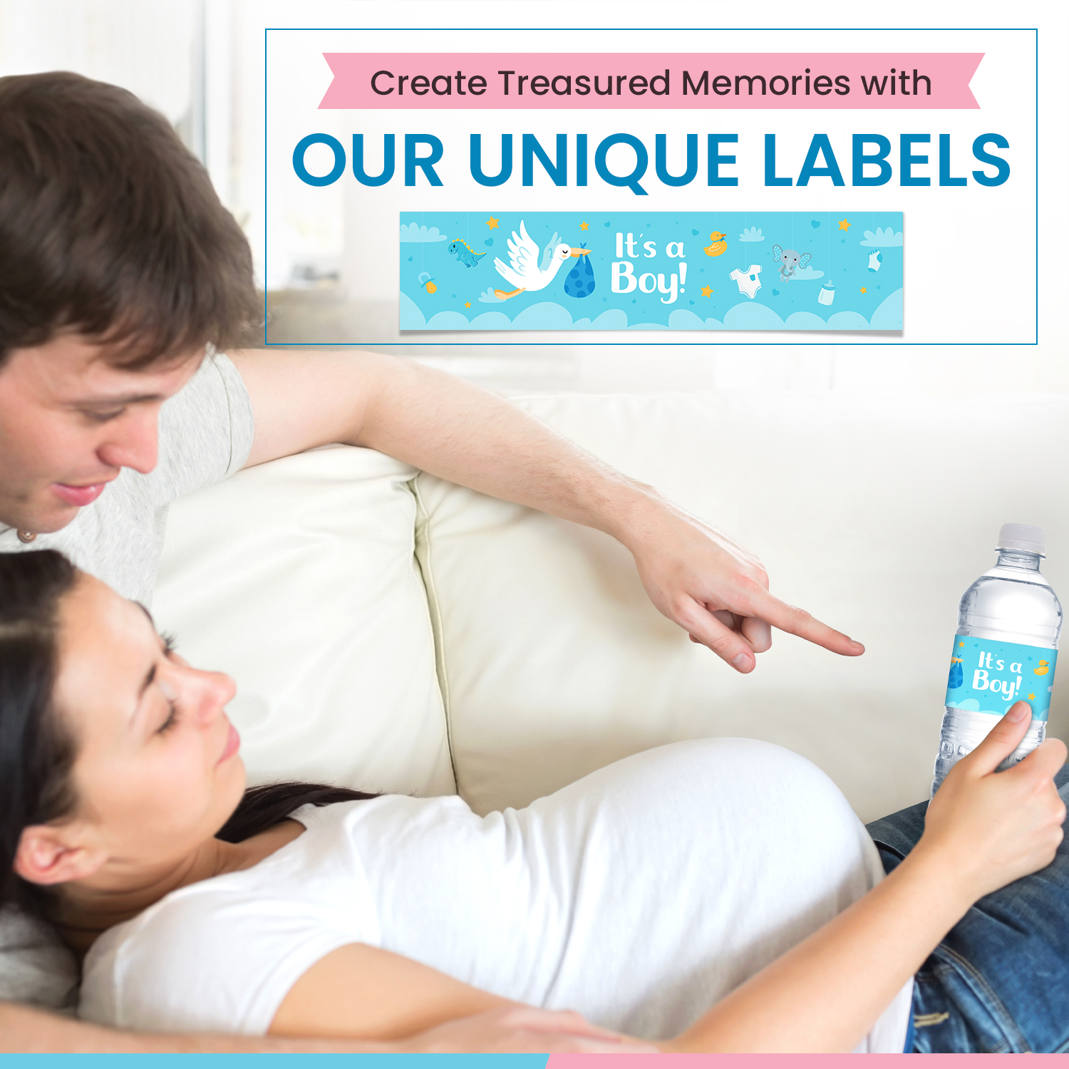miniature 6 - [24-Ct.] Glossy Baby Shower Water Bottle Label Party Favors by Eucatus