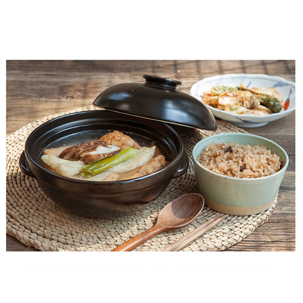 9in For Cooking Hot Pot Dolsot Bibimbap and Soup . Korean Premium Ceramic Stone Bowl with Lid