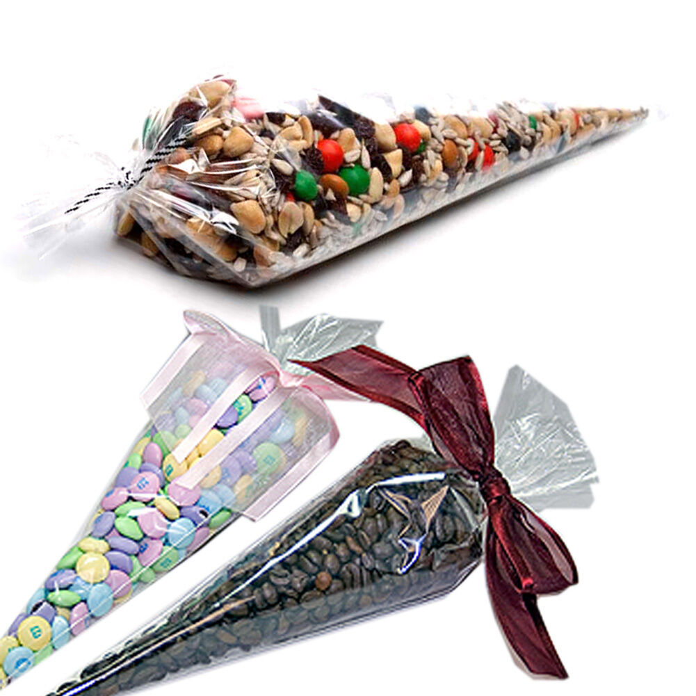 Party Bags Cone Shaped Crystal Clear