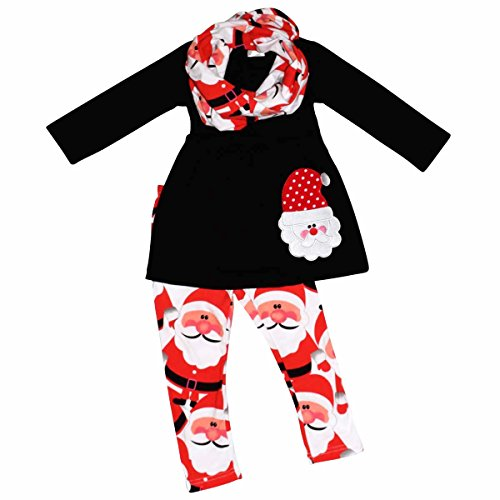 girls christmas santa claus holiday outfit red winter