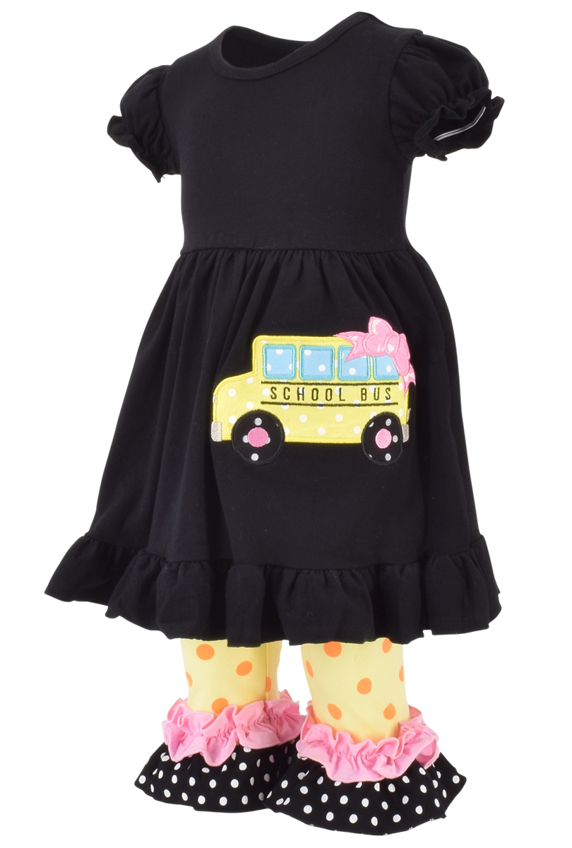 814a66f7ff0d Details about Girls Fashion Outfit Back to School Bus Boutique 2pc Toddler  Kid Capri Pant Top