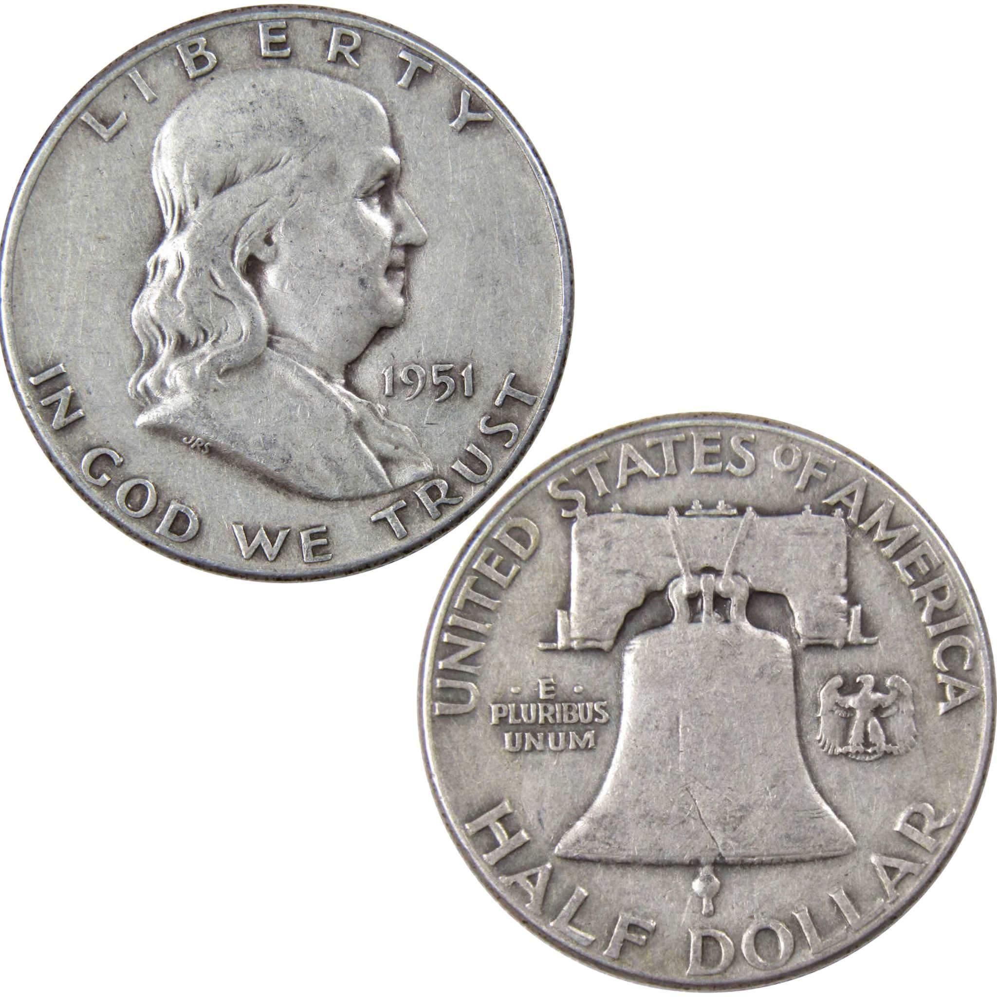 1951 S 50c Franklin Silver Half Dollar US Coin VG Very Good