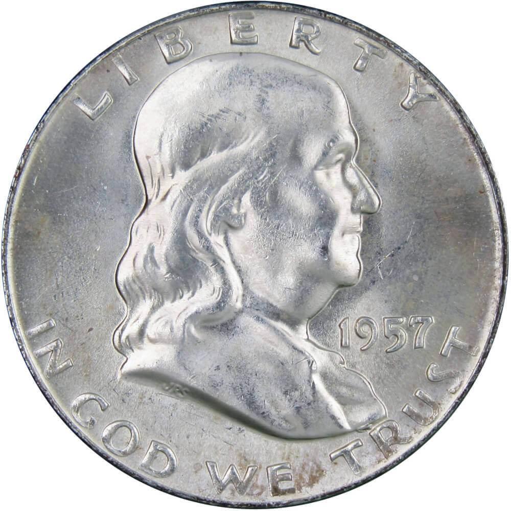 1957 Franklin Half Dollar BU Uncirculated Mint State 90/% Silver 50c US Coin