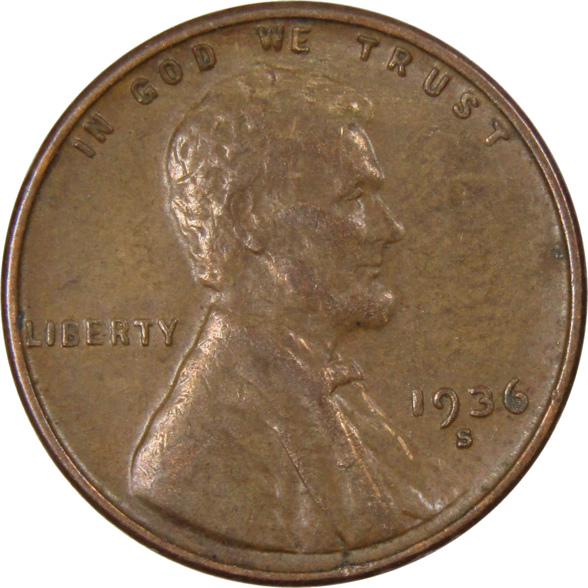 1936-S 1C BN Lincoln Wheat Cent Penny
