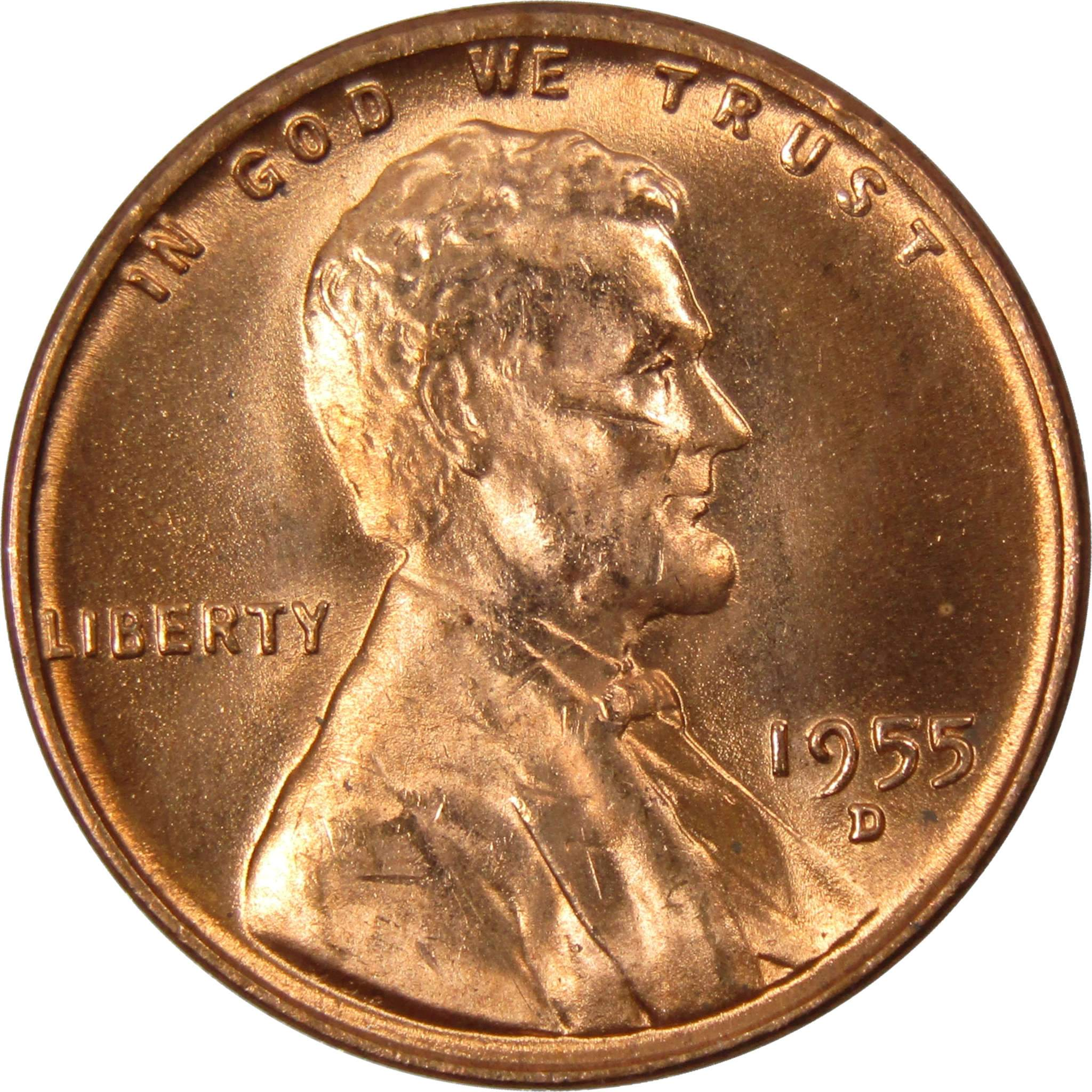 1955 D 1c Lincoln Wheat Cent Penny US Coin BU Uncirculated Mint State