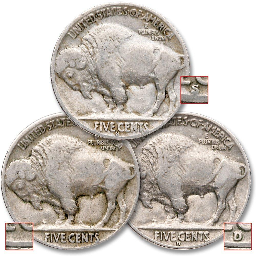1935-1937 5c Indian Head Buffalo Nickel 3 Coin All Mint Set Lot Circulated
