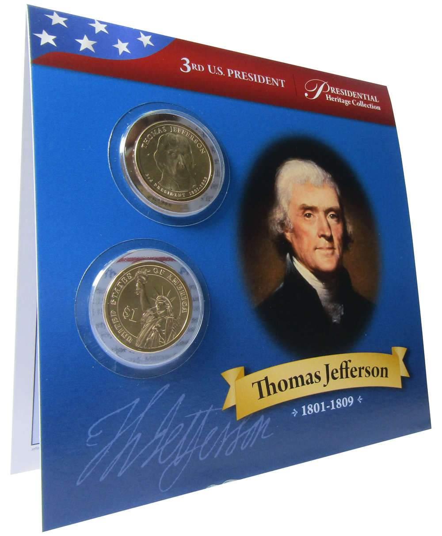2008 P/&D James Monroe Presidential Dollar 2 Coin Set Uncirculated Bifold