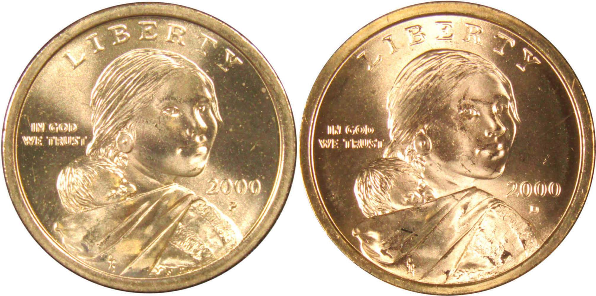 2002 P/&D Native American Indian One Dollar Coins Sacagawea US Mint Coin Money