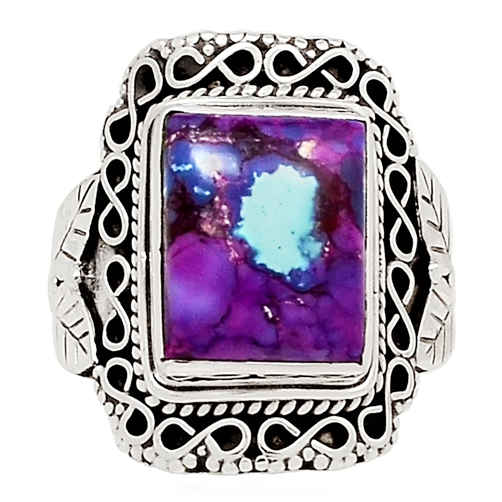 925 Sterling Silver Purple Copper Turquoise Oval Gemstone Jewelry Ring