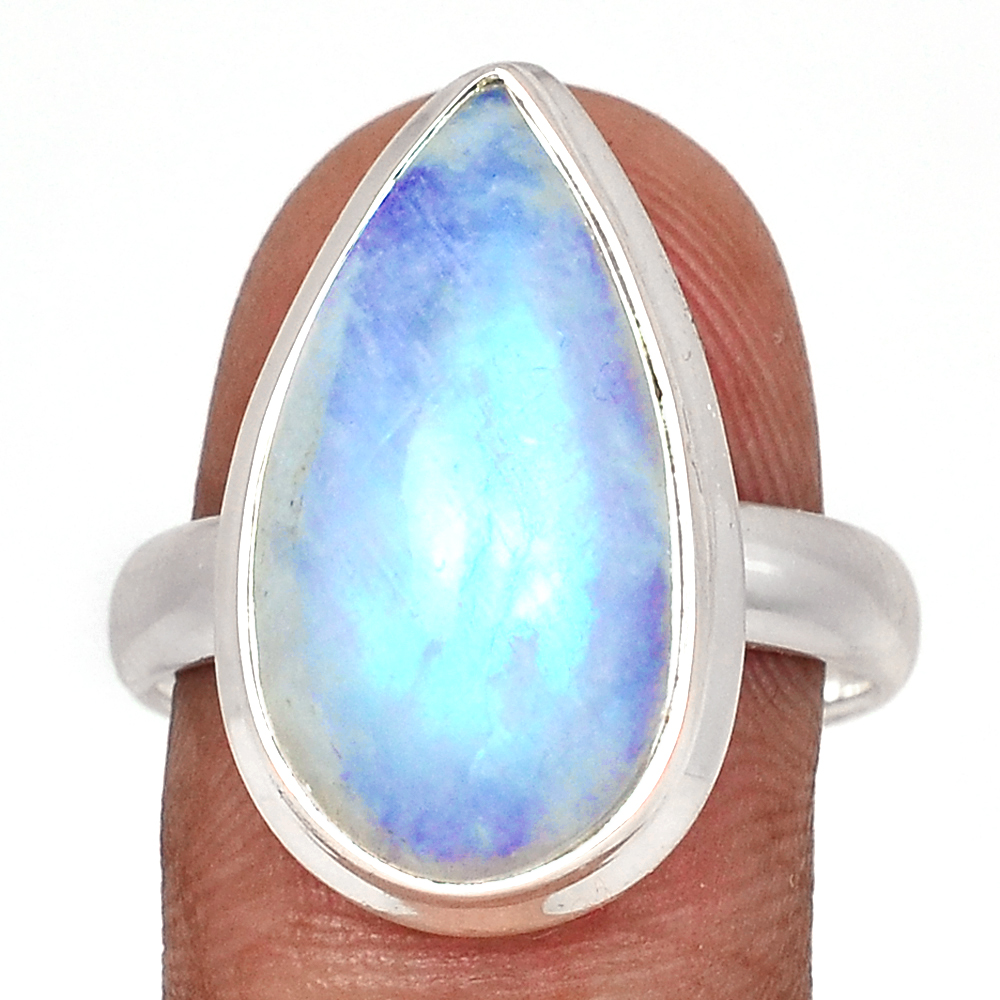 Blue Fire Ring Gemstone Ring Women Ring Rainbow Moonstone Ring 925 Silver Ring Statement Ring Big Stone Ring Oval Stone Ring Gift