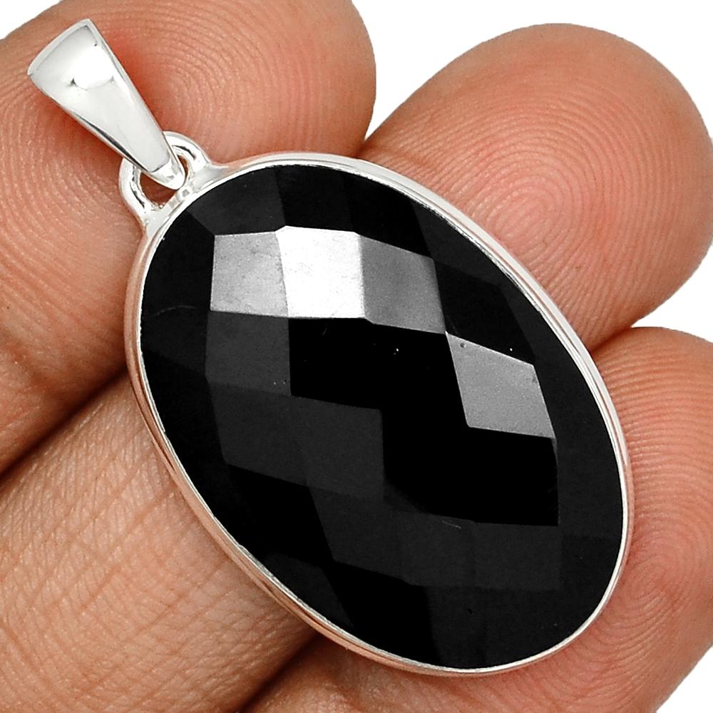 Damen Anhänger in Tropfenform aus echtem Onyx /& 925 Silber facettiert schwarz