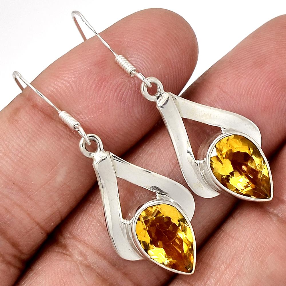 Citrine 925 Sterling Silver Earrings Jewelry E2350C