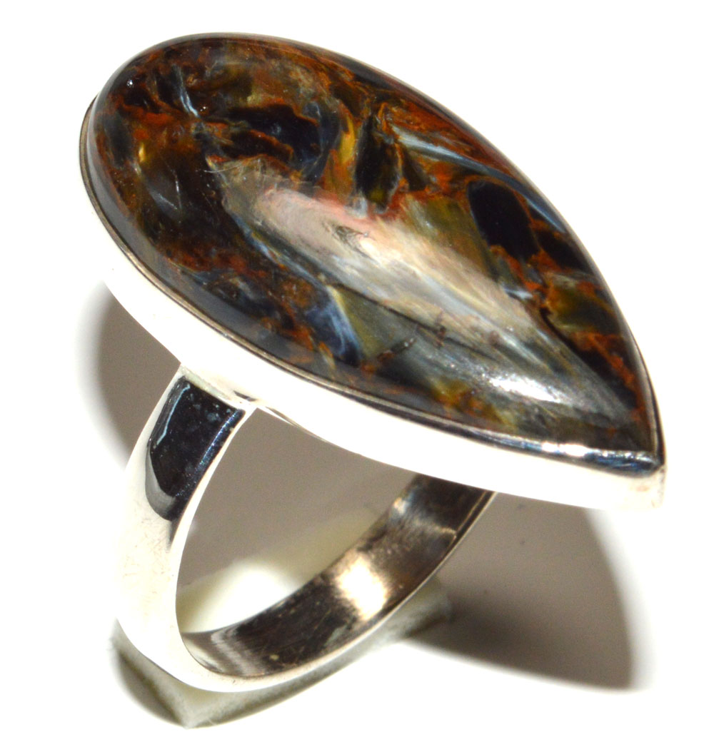 Namibian Pietersite /& Sterling Silver Ring size 8