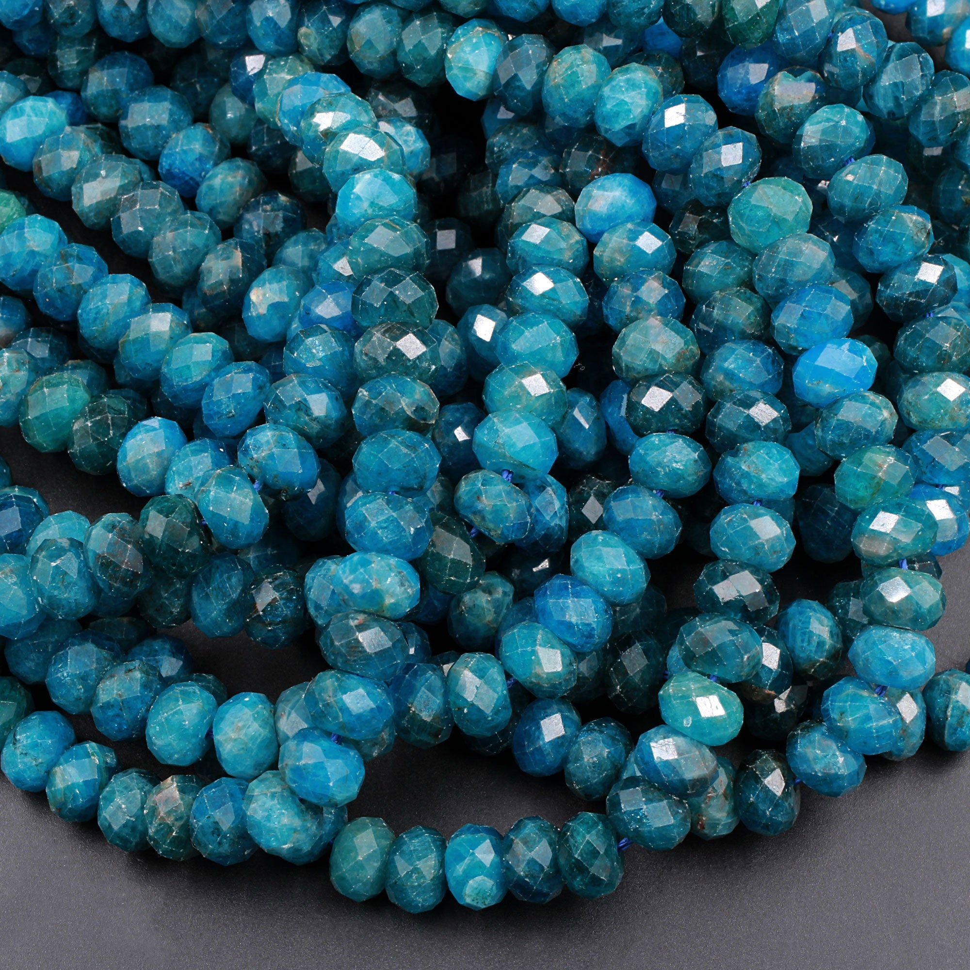 2mm large hole bead. 7mm natural Blue Apatite rondelle faceted