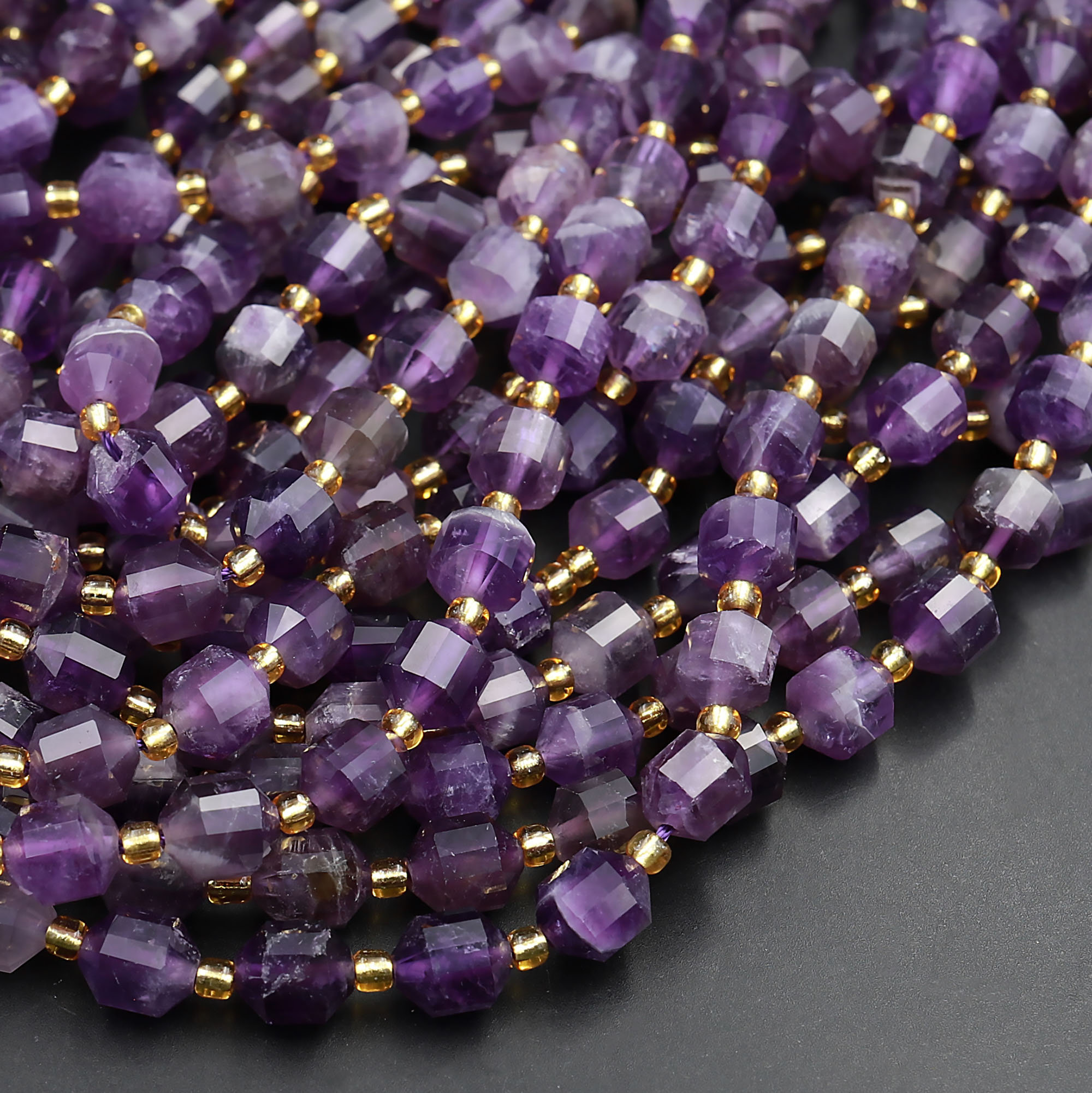 AAA Natural Purple Amethyst Faceted Rondelle Loose Gemstone  Beads,Amethyst Rondelle,Purple Amethyst,Amethyst Gemstone,8/'/' 8MM Beads,Cheap