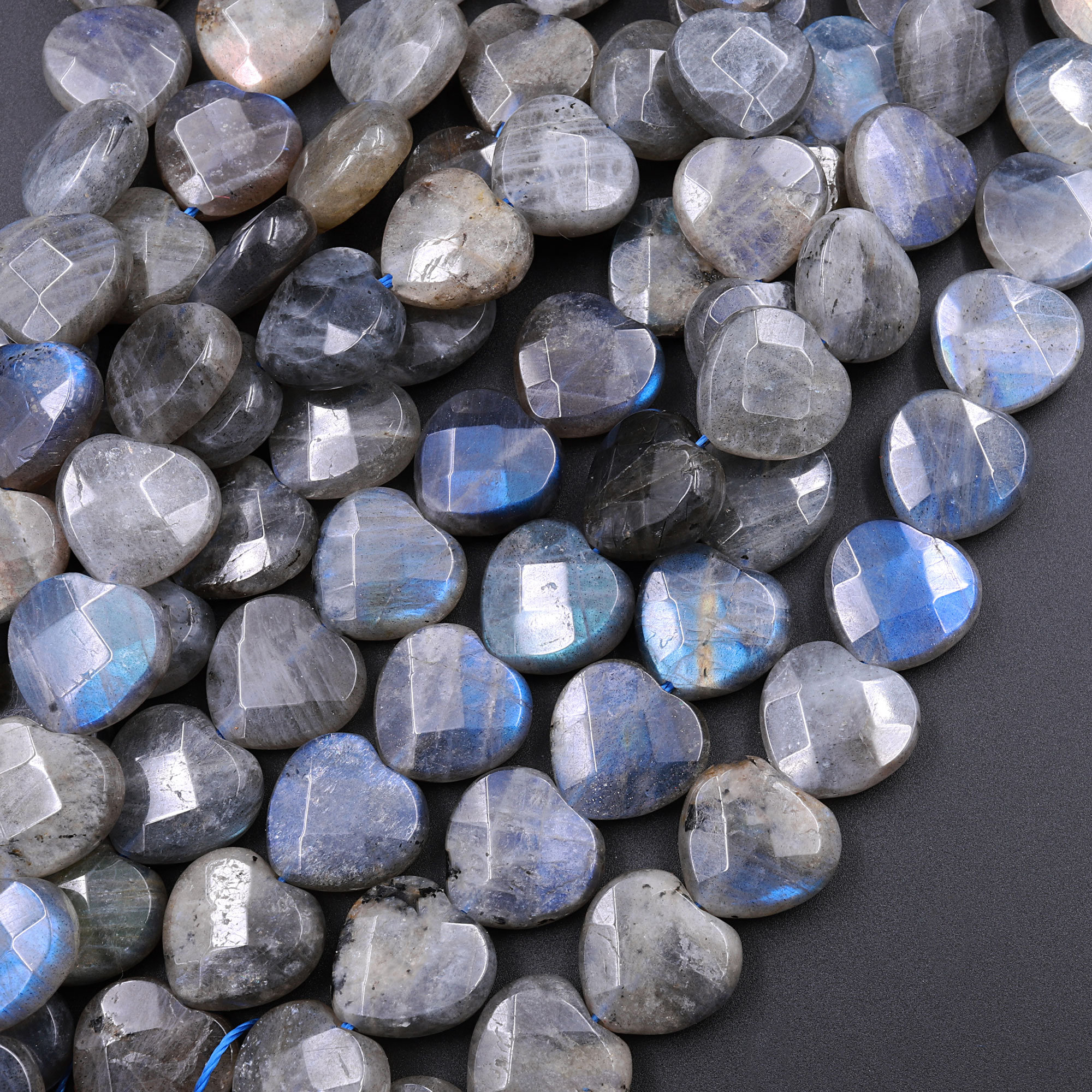 Labradorite Heart Shaped Stone Blue Flash b011