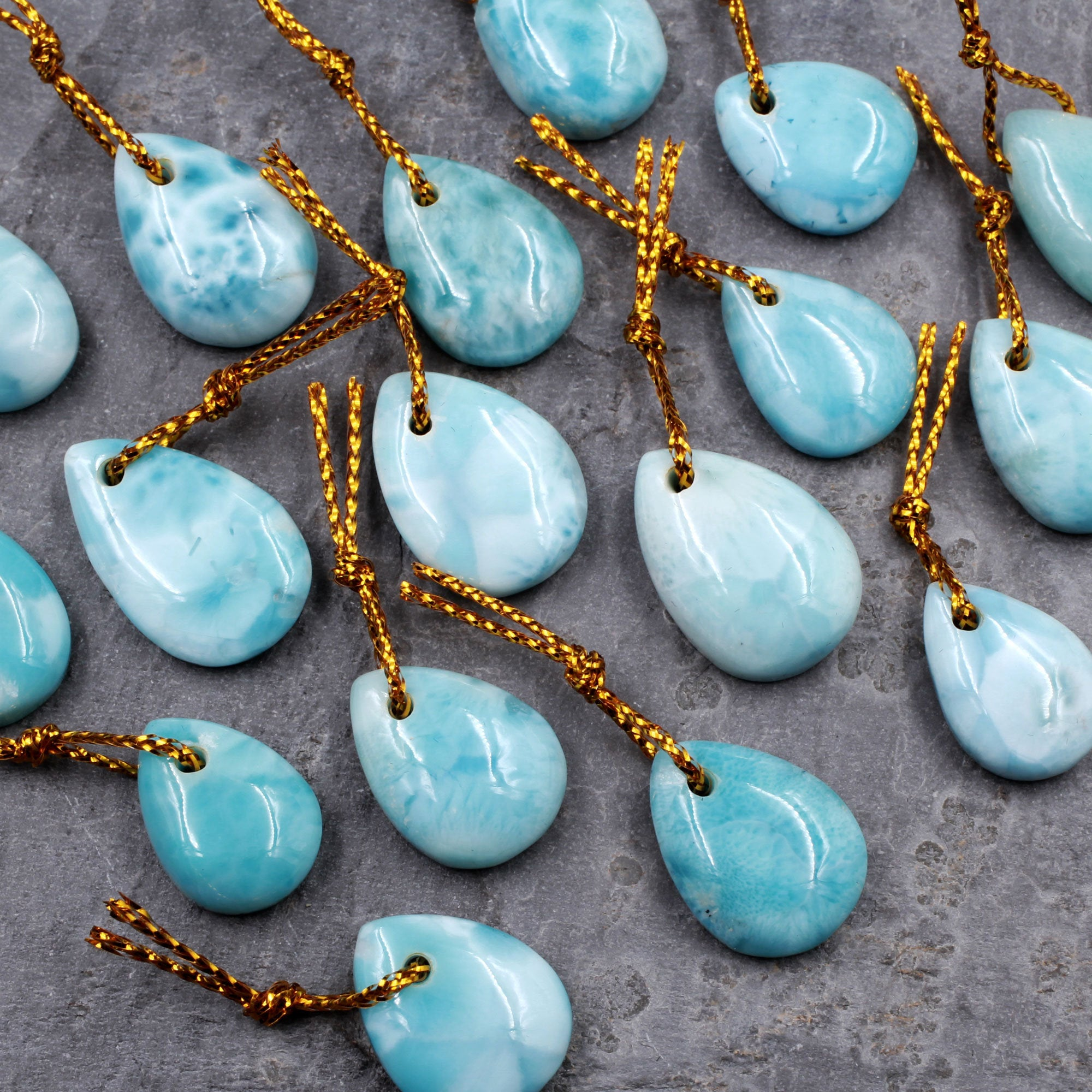 Natural Blue Larimar Teardrop Pendant Drilled Gemstone Focal Bead