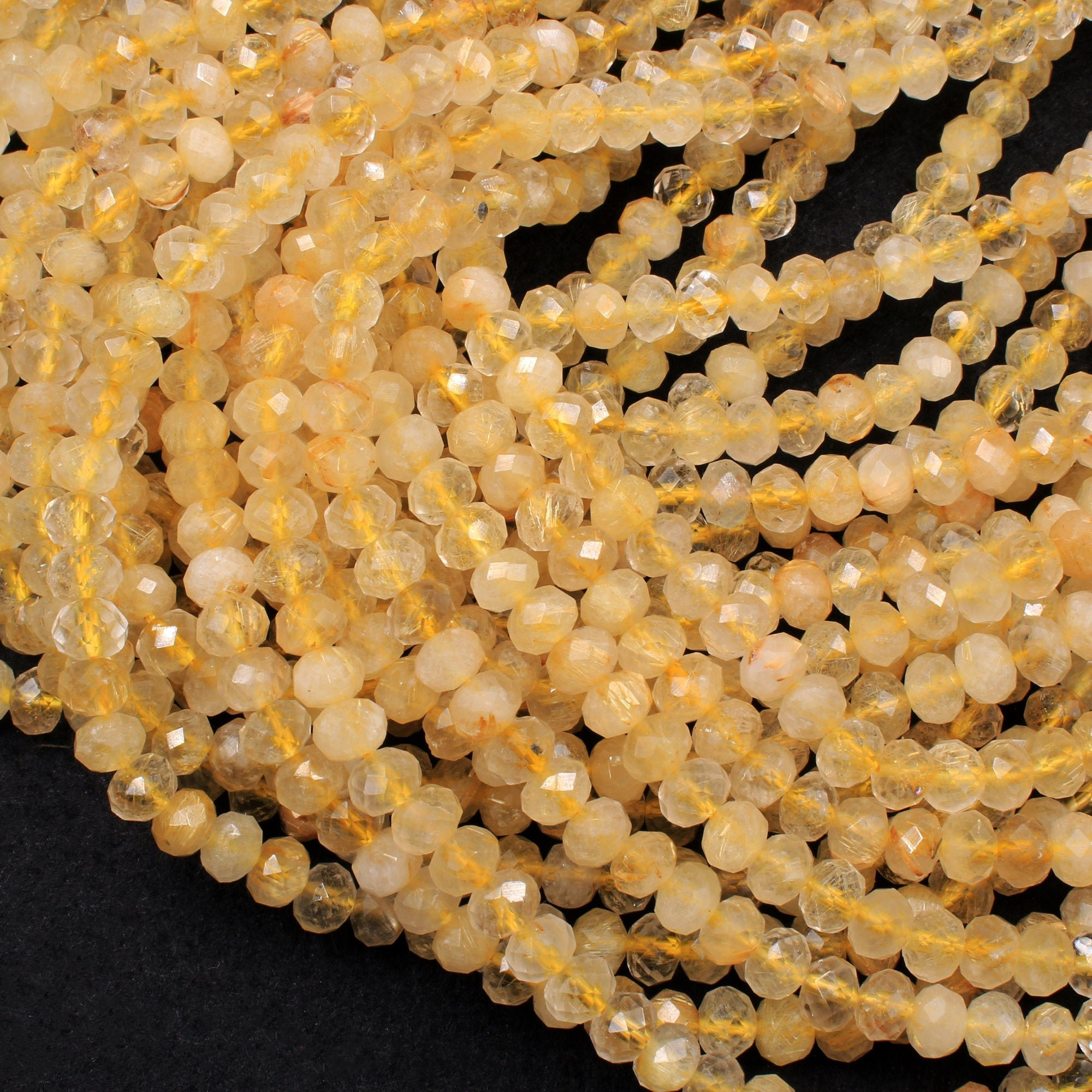 Golden Rutilated Chalcedony Rounds Faceted
