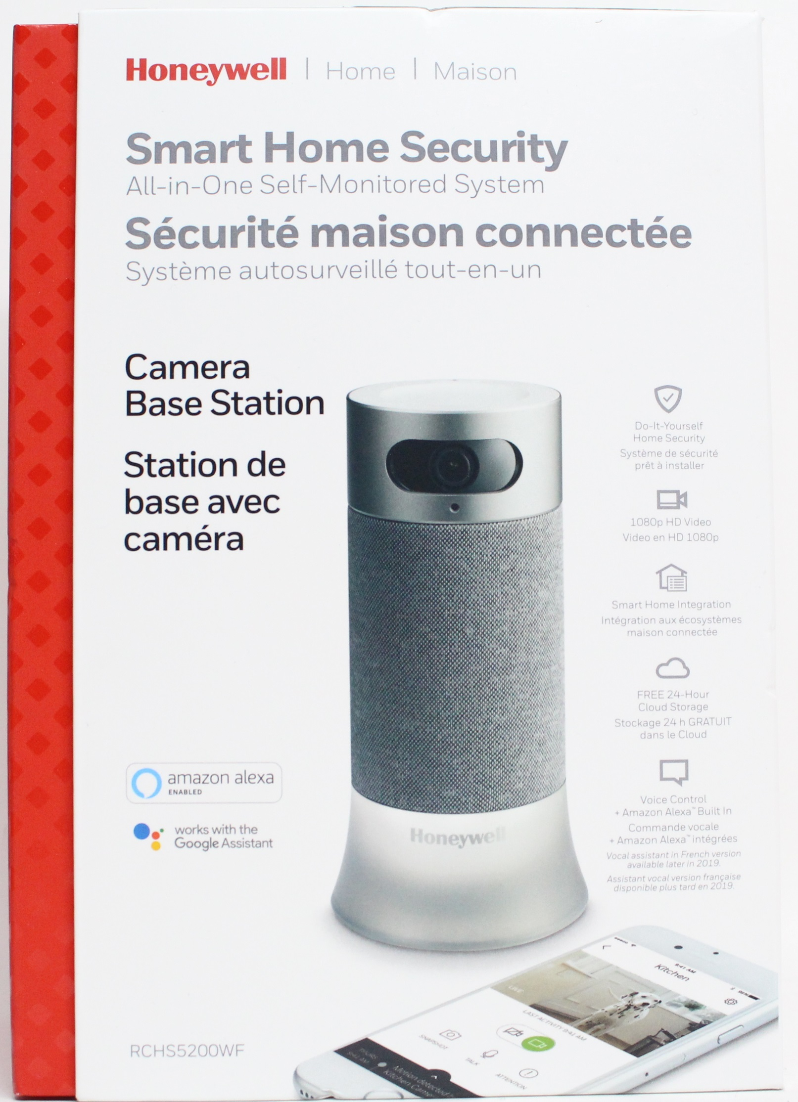 Details about Honeywell Smart Home Security Camera Base Station with Alexa  & Google Assistant