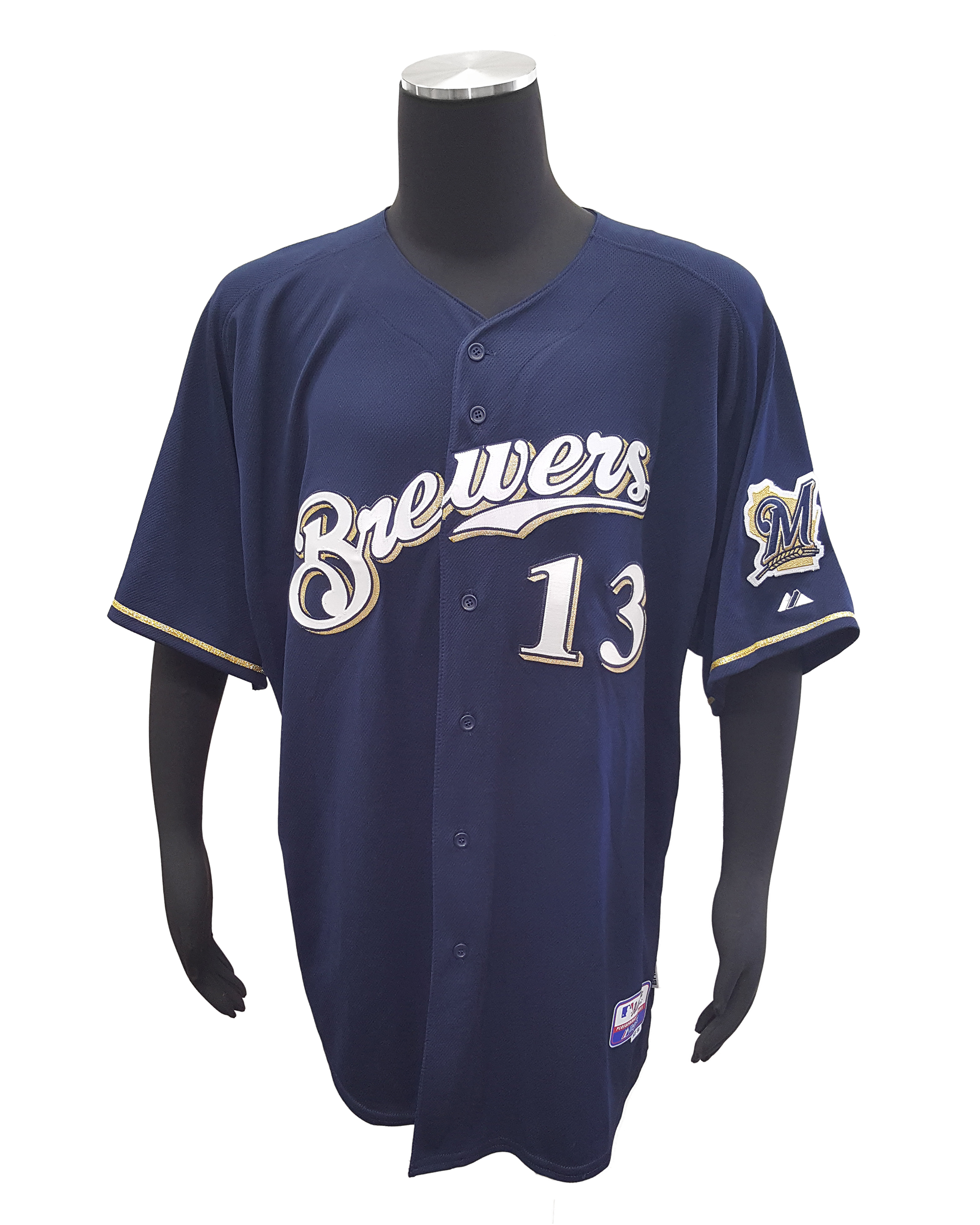 low priced 38b91 2fc7f Details about Majestic Milwaukee Brewers #13 Greinke Jersey (56, Navy)