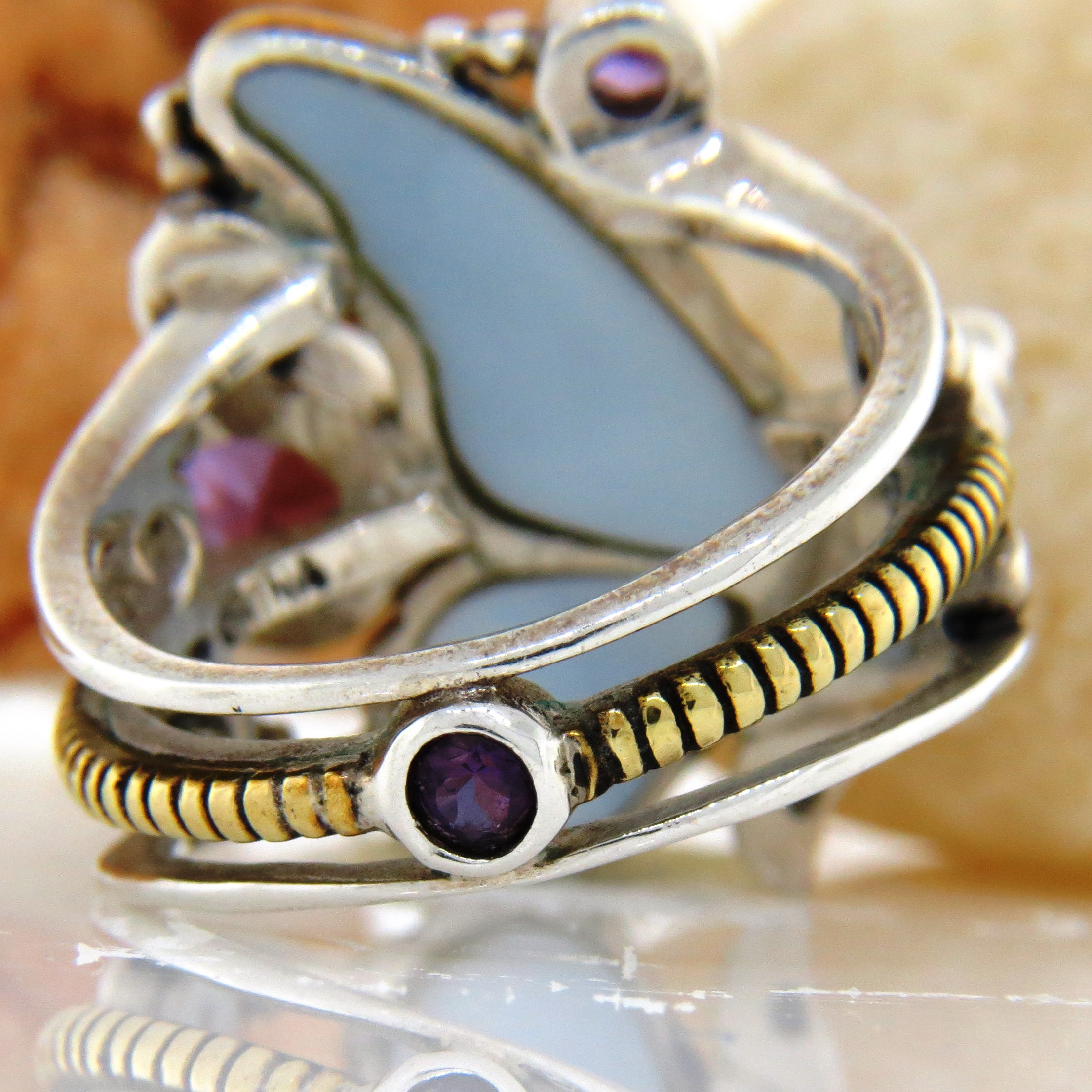 Amy Kahn Mother of Pearl Buddha Ring Echo of the Dreamer