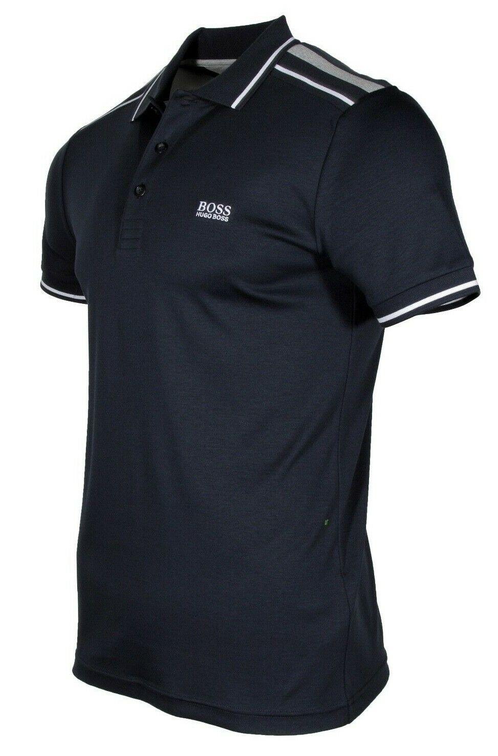 HUGO-BOSS-Paule-1-Men-039-s-Short-Sleeve-Slim-Fit-Polo-Shirt-Navy-50399450-410 thumbnail 5