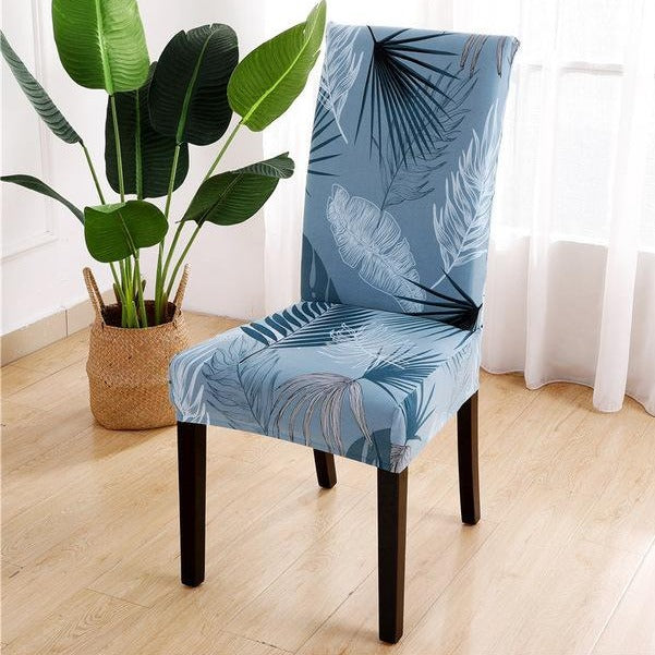 Blue Tropical Palm Leaf Pattern Dining Chair Cover Slipcover Ebay