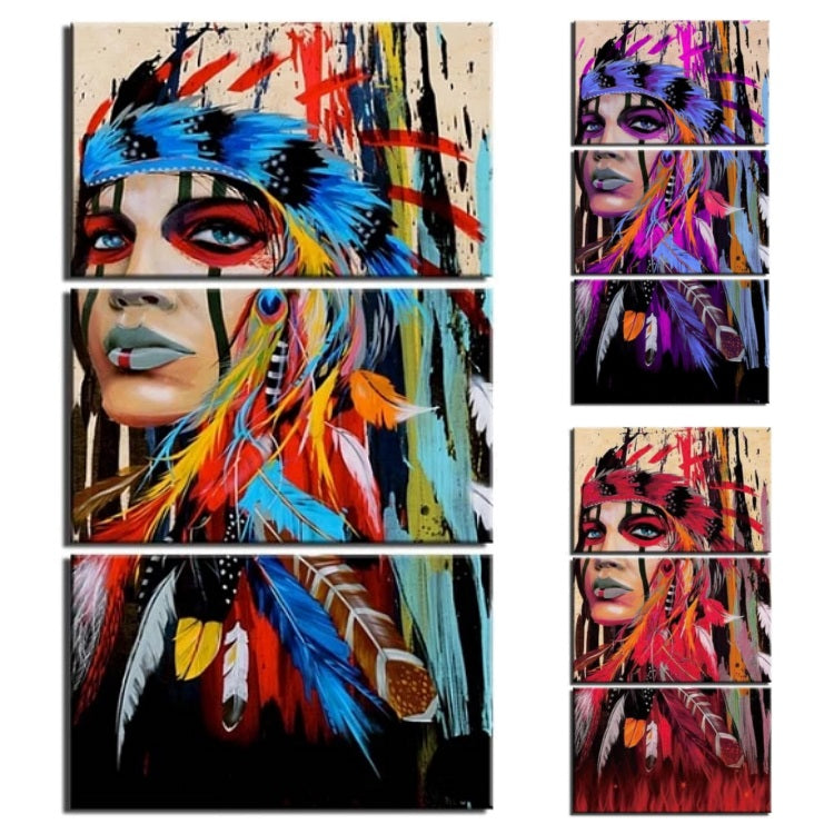 3 Piece Abstract Female Indian Warrior Canvas Wall Art Print Ebay