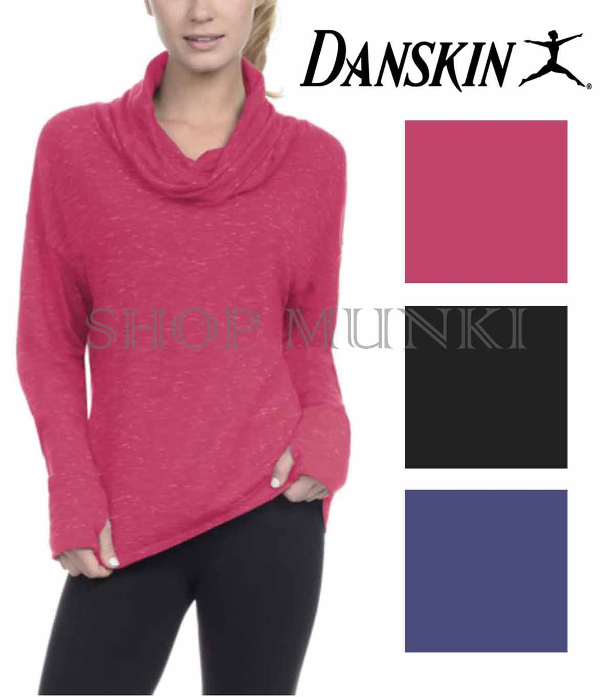 Danksin Women/'s French Terry Relaxed Fit Cowl Neck Pullover Top with Thumbholes