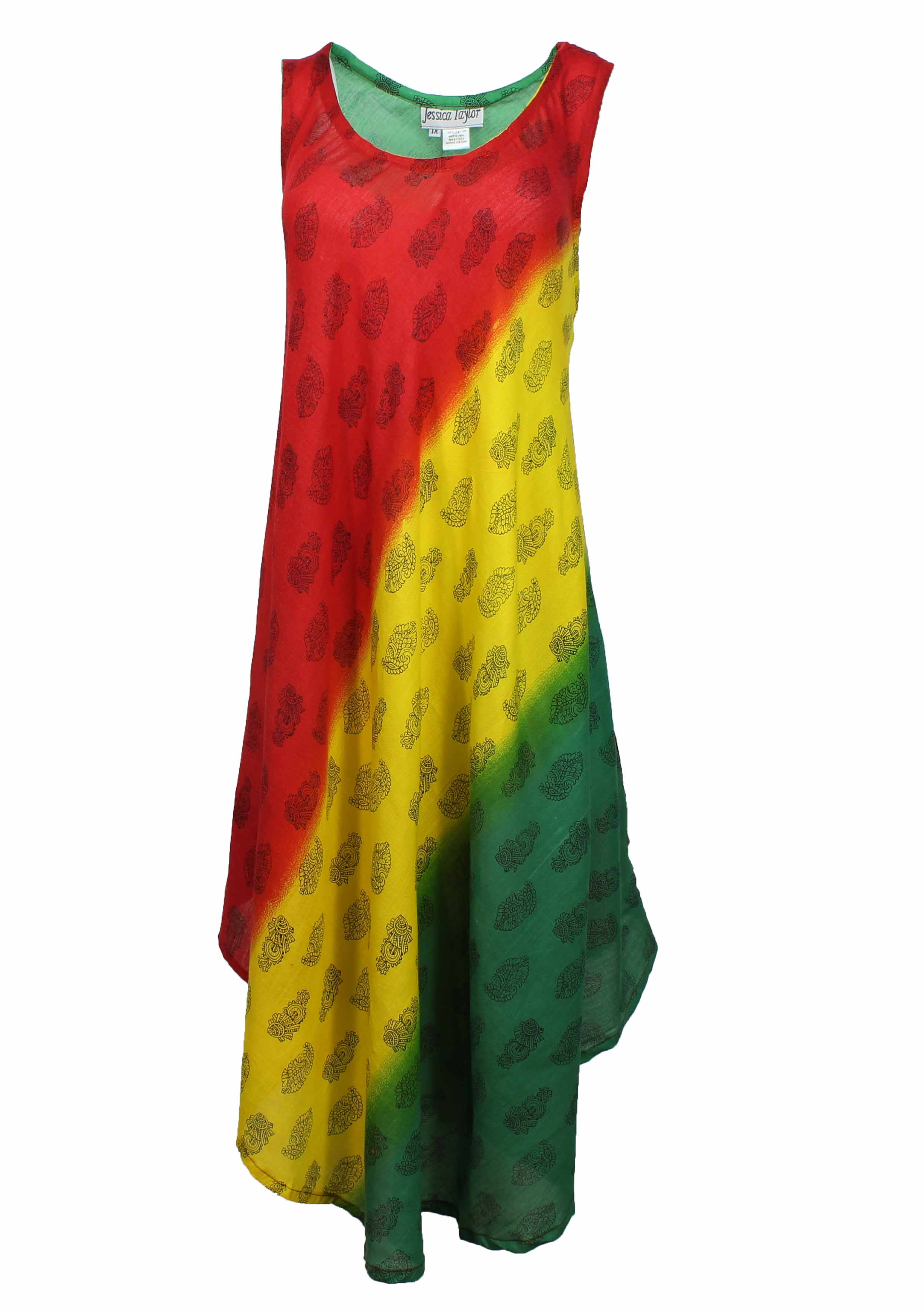 Details about Jessica Taylor Womens Plus Sized Sleeveless Rasta Dress, 100%  Rayon