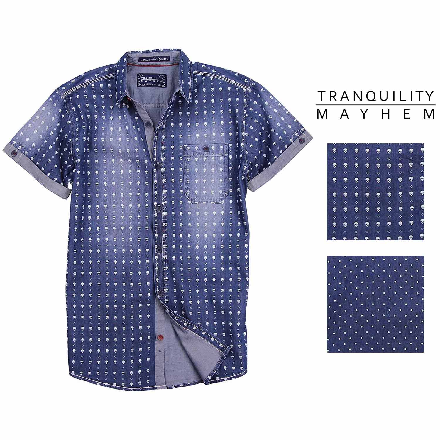 Tropical Thunder by Tranquility /& Mayhem Men/'s Short Sleeve Button Down Shirt