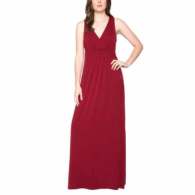 Matty M Womens Crossover V Neck Pullover Maxi Dress Ruby Red Us Size