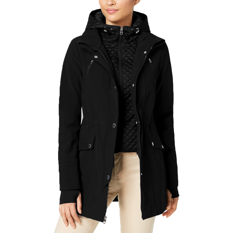 9b83f5045500 Nautica Women s Layered Softshell Hooded Raincoat Jacket