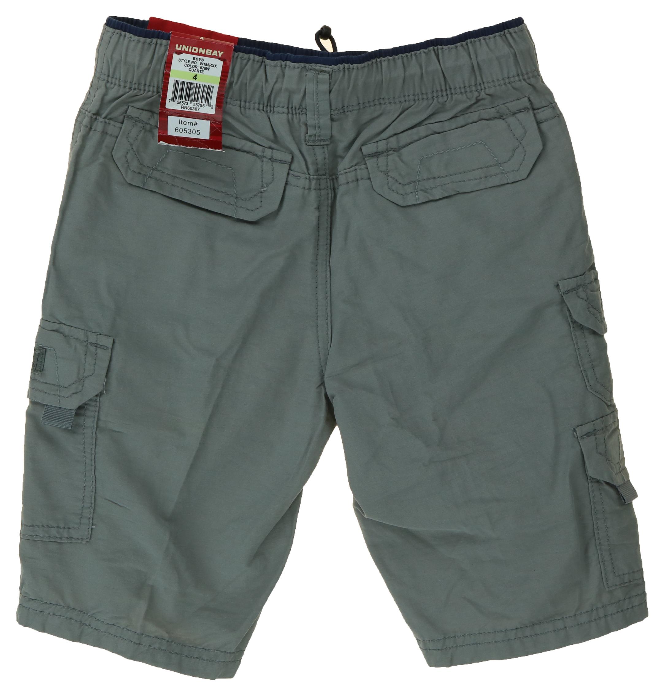 Elastic Waistband FREE SHIP UNIONBAY Lightweight Pull-On Cargo Shorts for Boys