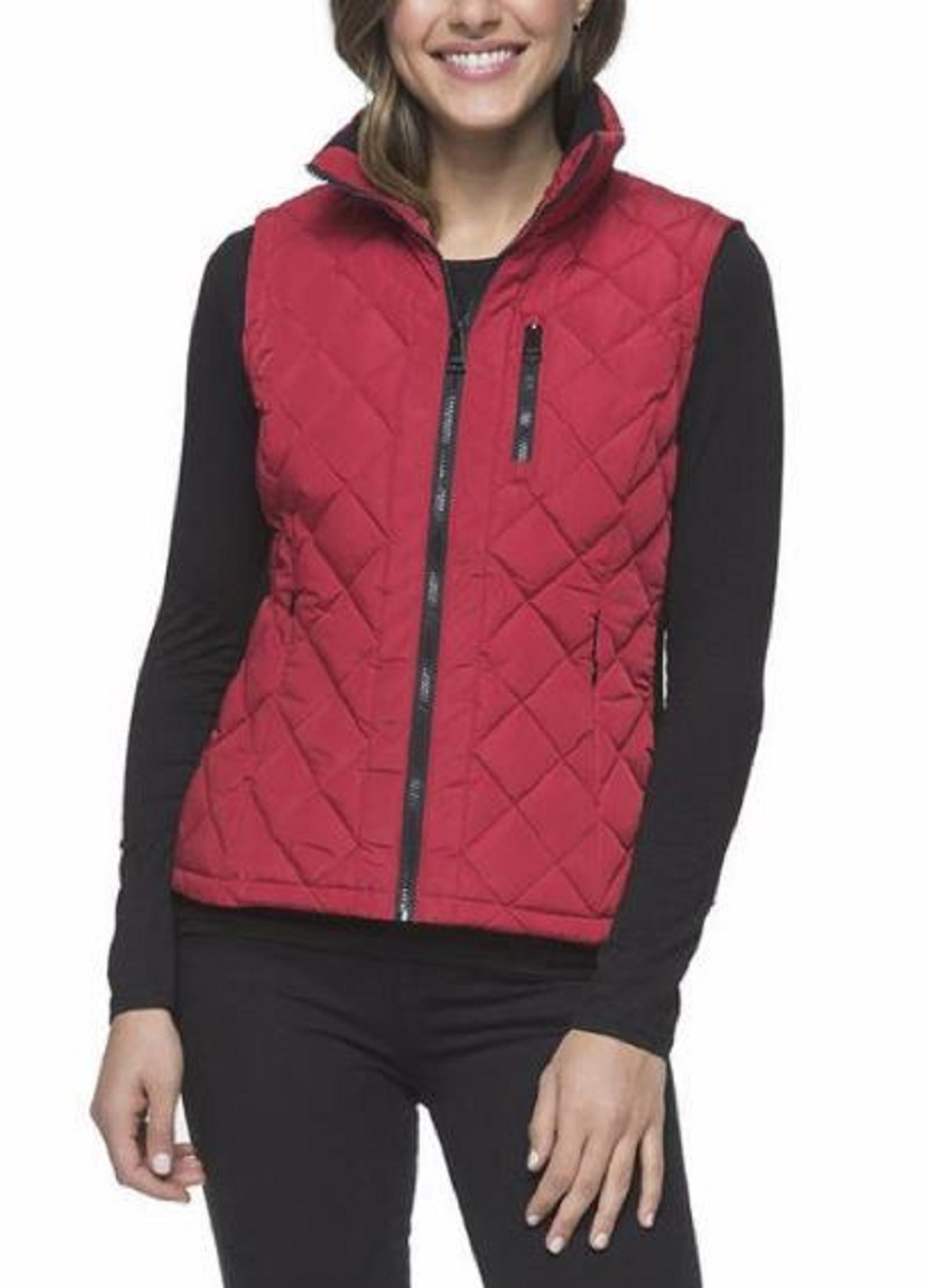 Andrew Marc Women S Quilted Vest With Ribbed Knit Side