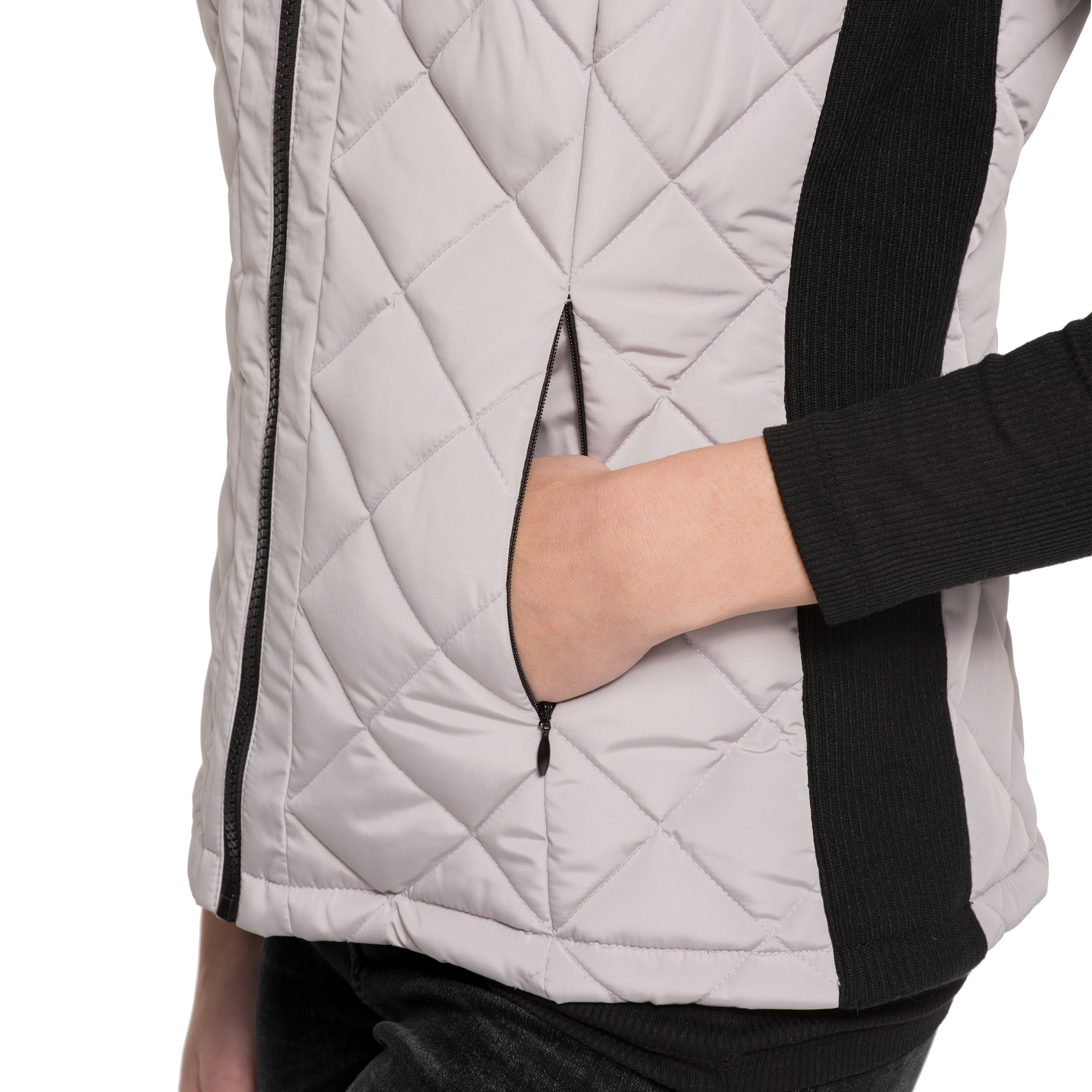 Large, Black Andrew Marc Womens Quilted Vest with Ribbed Knit side Panels and Collar