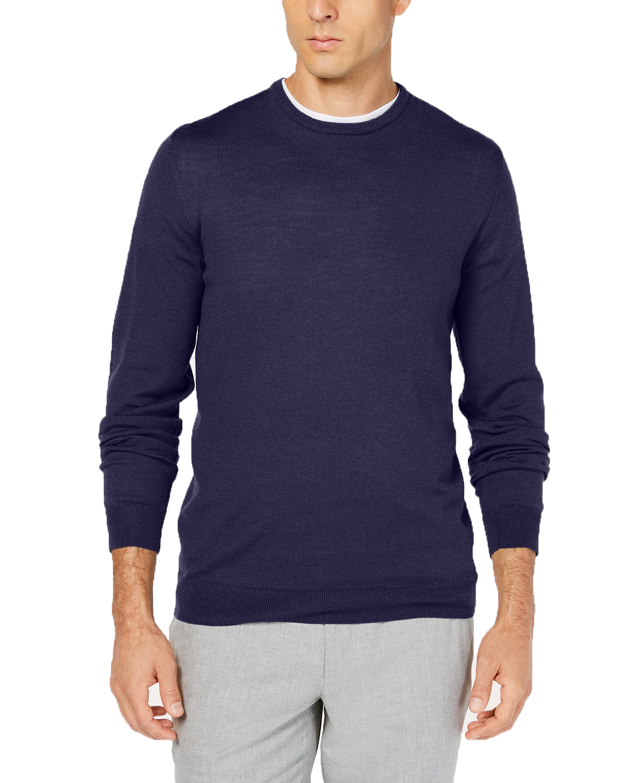 Tasso Elba Mens Merino Wool Sweater (Navy bluee,Medium)