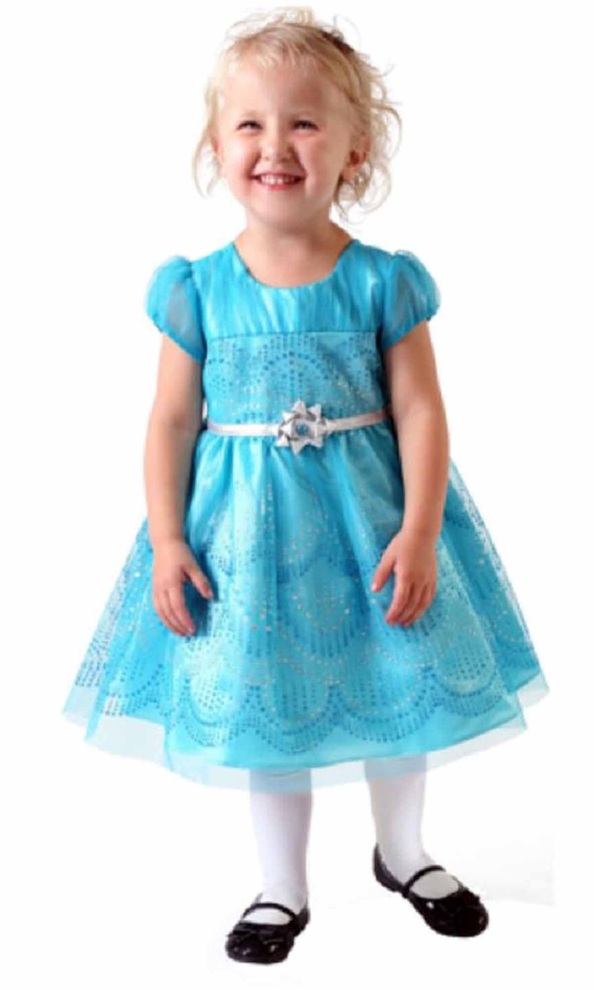 Jona Michelle Little Girls Formal Dress Frozen Blue Sparkle US Size ...
