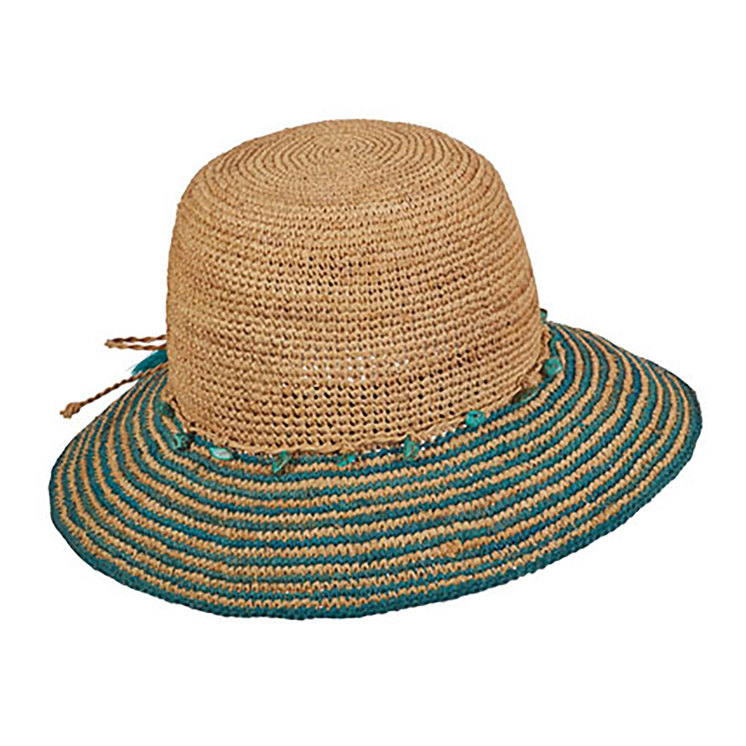 df3b8b614 Details about Tommy Bahama Womens Raffia Bucket Hat with Turquoise Trim  (Turquoise, One Size)