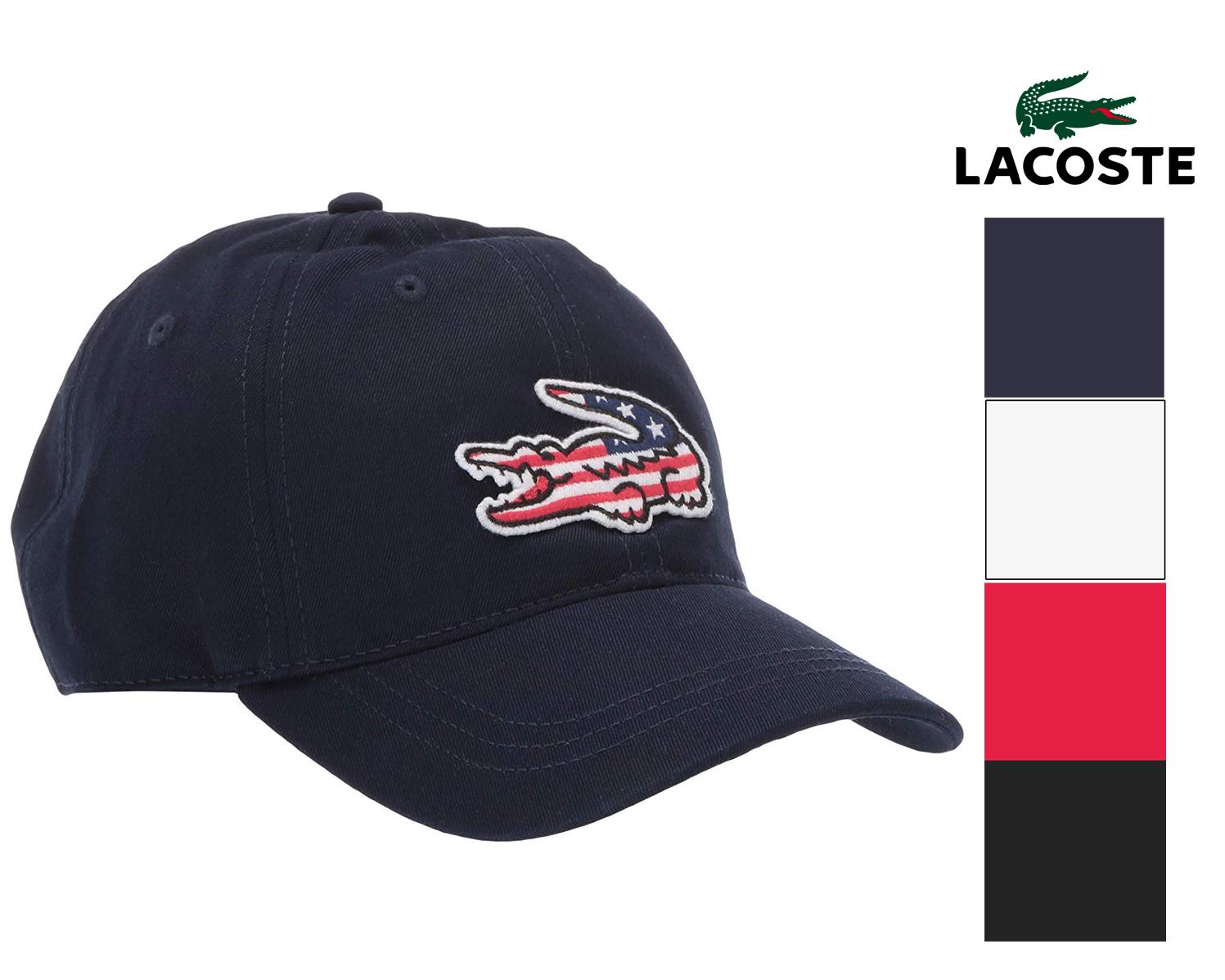 bc233e5a Details about Lacoste Men's Big Croc Adjustable American Flag Logo Cap Hat  USA Crocodile