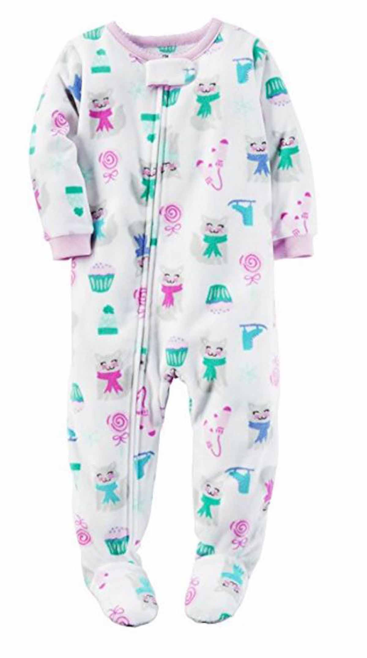 5ad6721e5f Carters Girls 1 Piece Footed Sleeper Zip Up Fleece Pajama