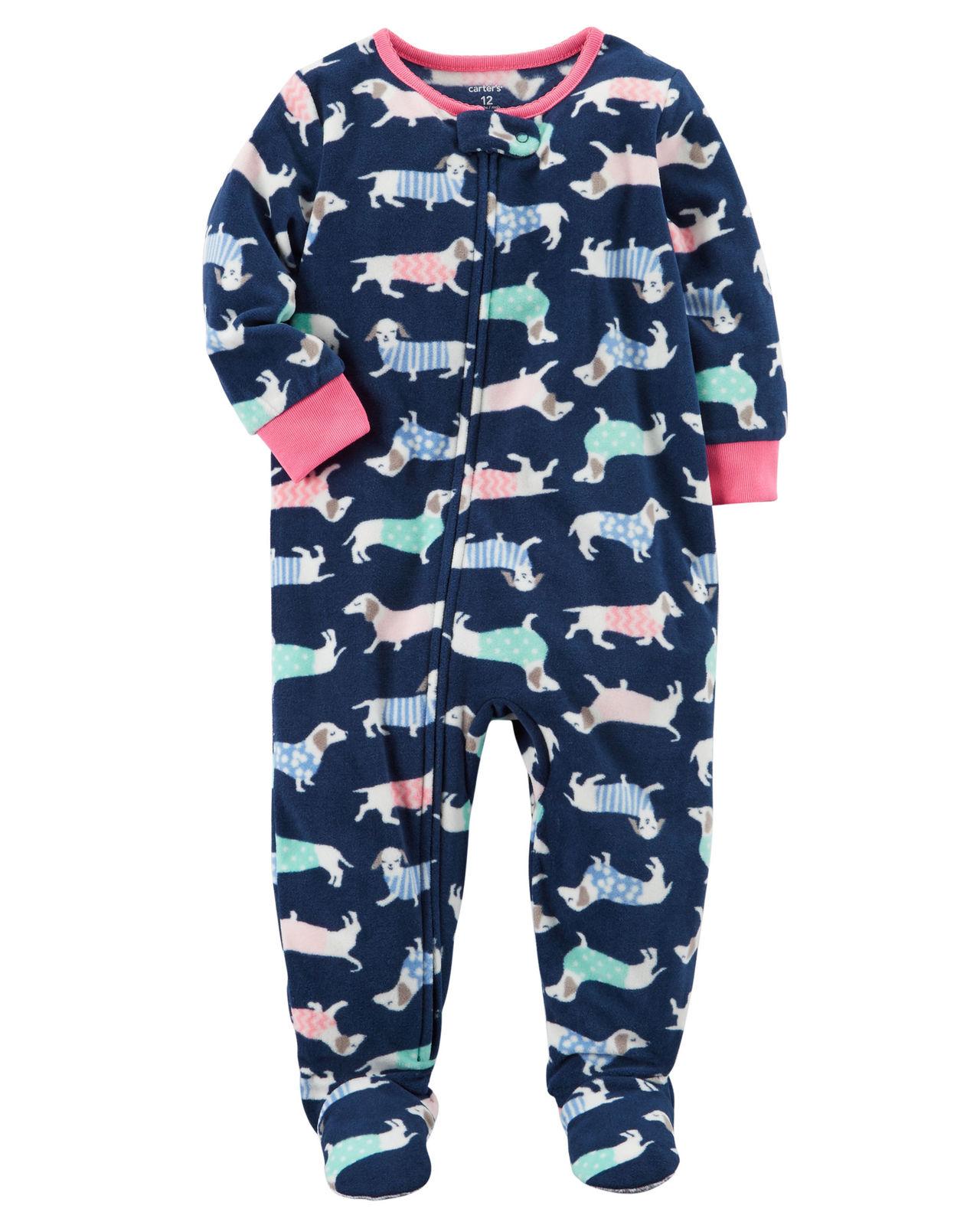 b77441a7f Carters Girls 1 Piece Footed Sleeper Zip Up Fleece Pajama