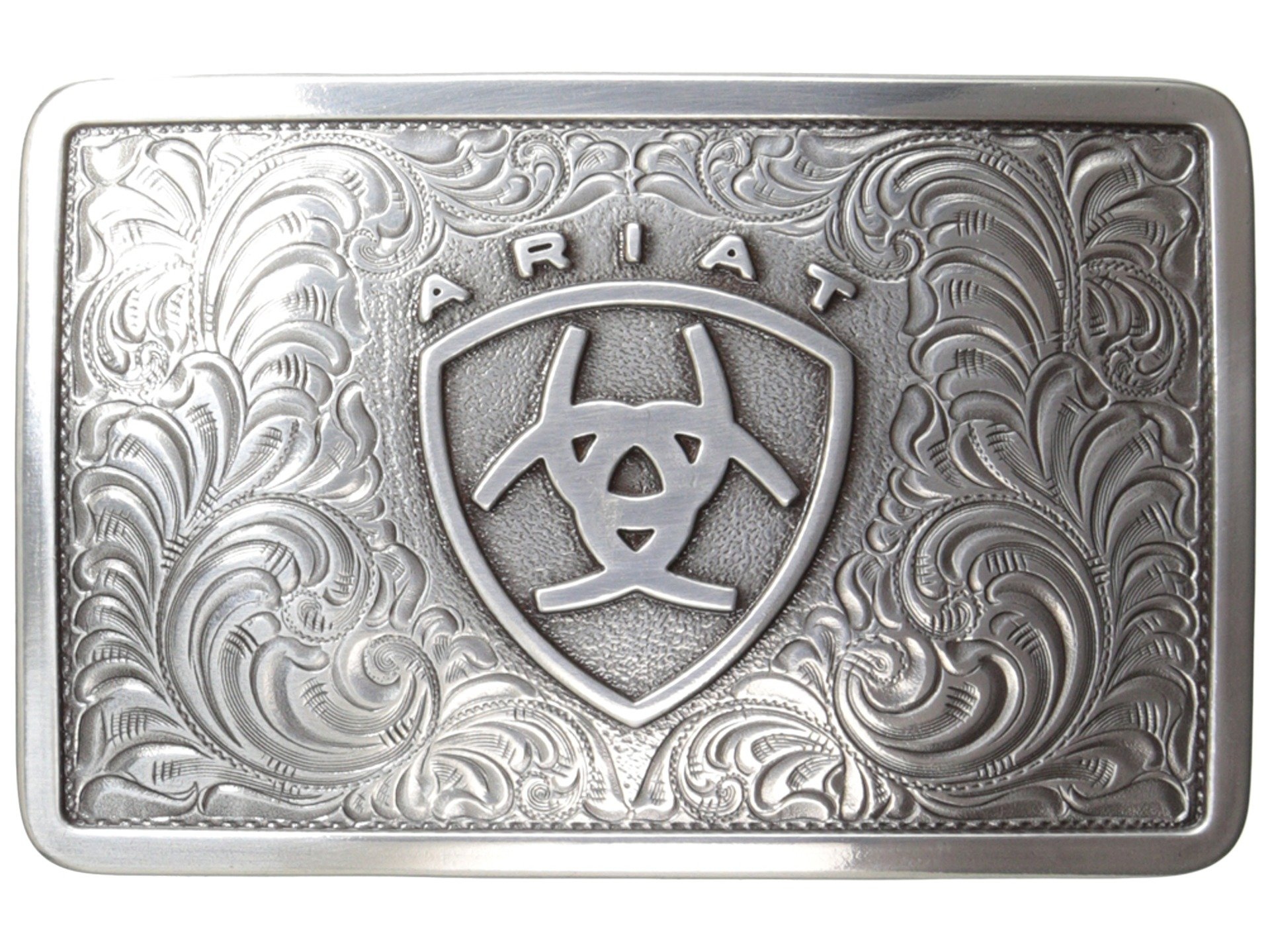 Ariat Western Belt Buckle Filigree Logo Rectangular Silver A37002