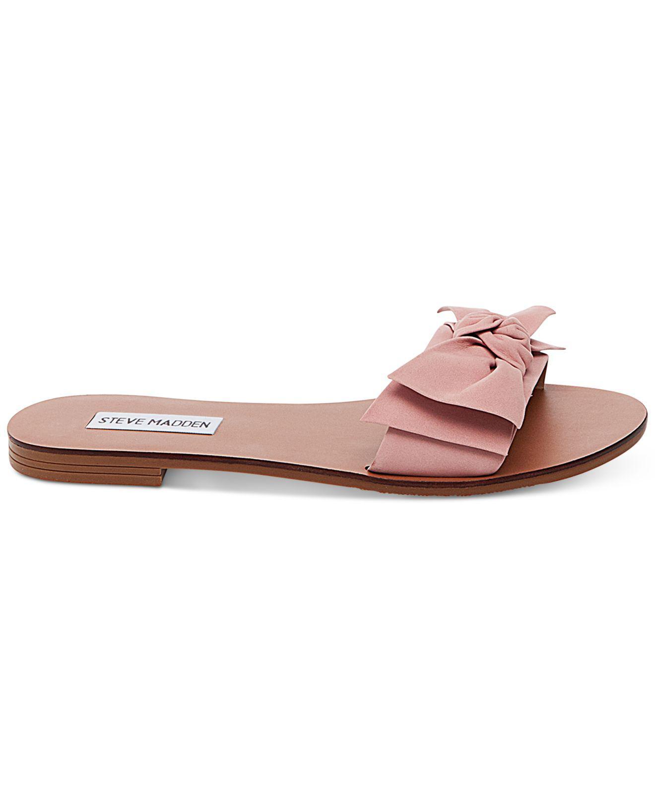 5b2eb580602 Steve-Madden-Womens-Knotss-Bow-Flat-Slide-Sandals thumbnail