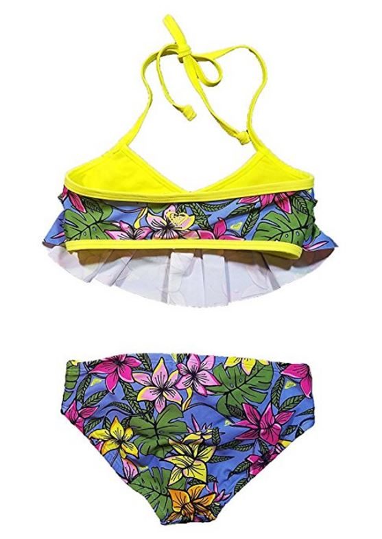 0e0f5ef608 ROXY 2-piece UPF 50 Hot Tropics Girls Bikini Swimsuit Swim Suit Size ...