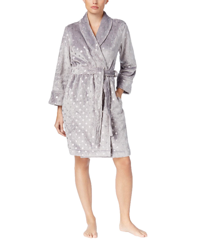 Charter Club Womens Metallic-Print Short Bath Robe