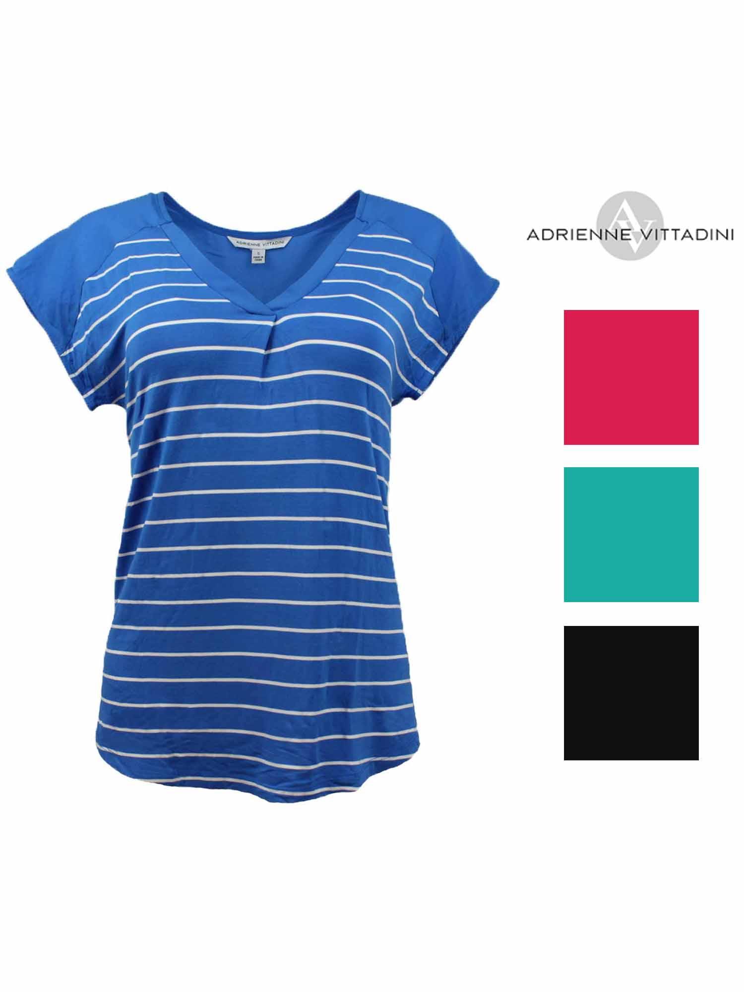 Adrienne Vittadini Women/'s V-Neck Blouse Pacific Stripe US Size L NWT
