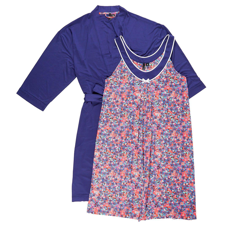 0aea7b1c1f Kensie Womens Robe and Chemise 2 Piece Pajama Set