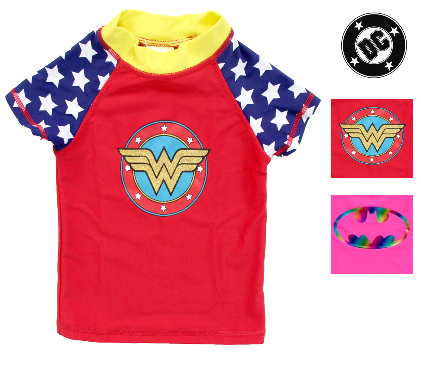 DC Comics Girls Long Sleeve Swim Rash Guard-Supergirl Wonder Woman Batgirl